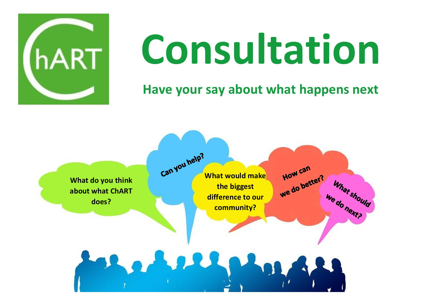 "ChART Consultation poster Have your say what happens next. Image shows silhouettes of people with speech bubbles asking ""what can we do better"""