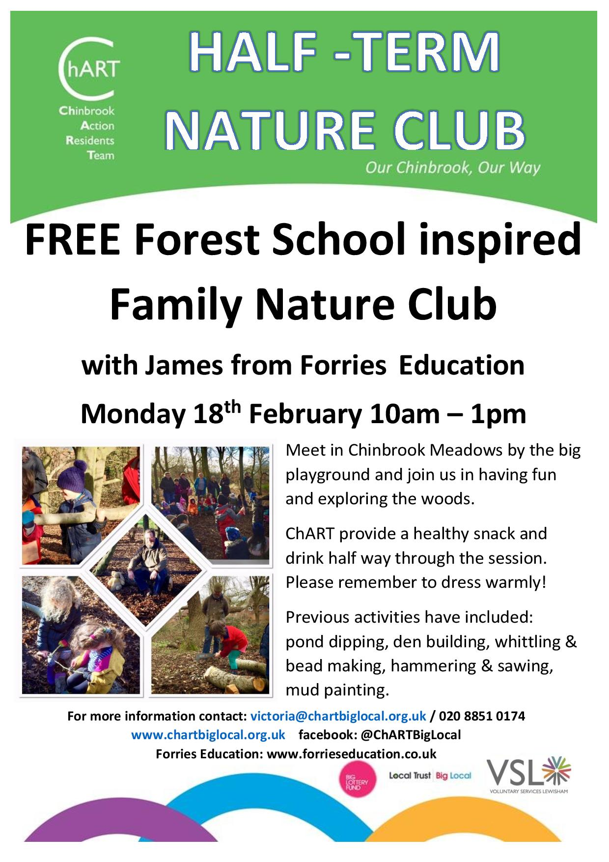 ChART Nature Club Flyer Monday 18th February 10am to 1pm Chinbrook Meadows