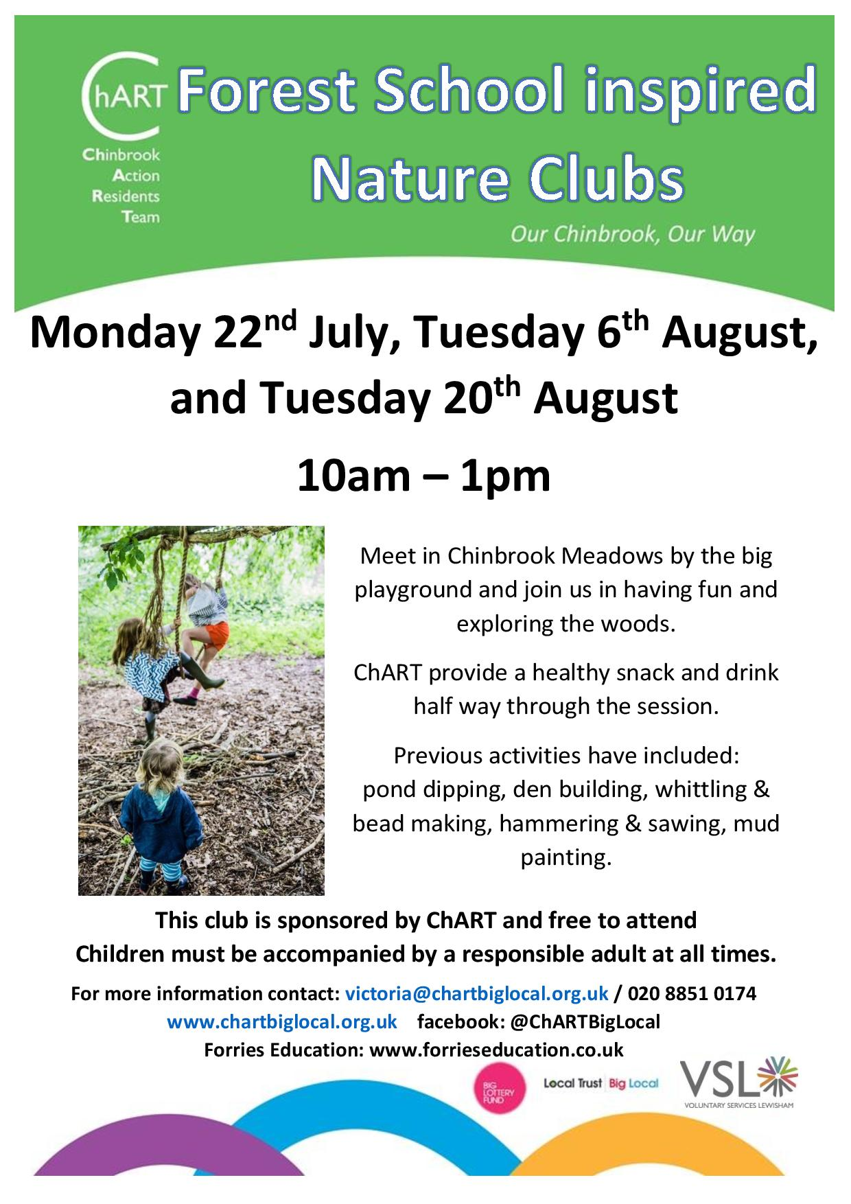 Flyer advertising Nature Club Summer 2019, picture shows children playing on rope swings in forested area. Sessions run Monday 22nd July, Tuesday 6th August and Tuesday 20th August 10am - 1pm in Chinbrook Meadows