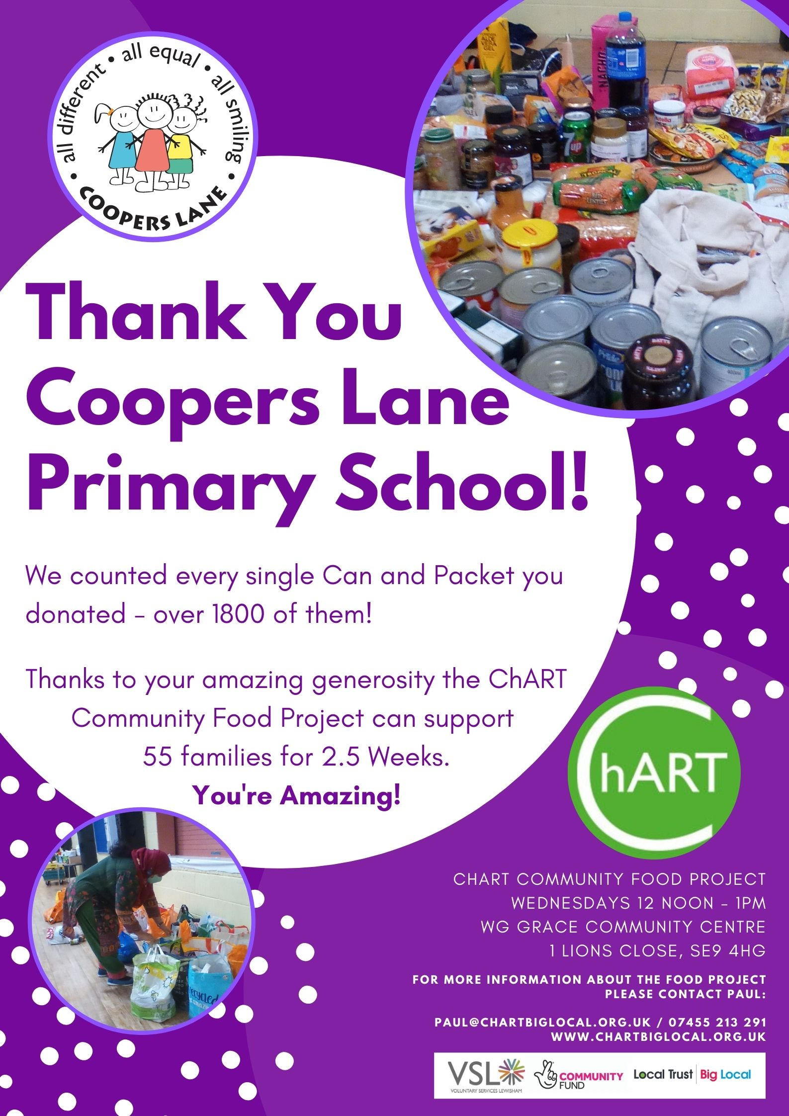 "Poster with purple background, photographs in circles show large quantity of food doantions in cans and packets. Purple text in white circle reads ""Thank You Coopers Lane Primary School! We counted every single can and packet you donated - over 1800 of them! Thanks to you amazing generosity the ChART Community Food Project can support 55 families for 2.5 weeks! You're Amazing!"
