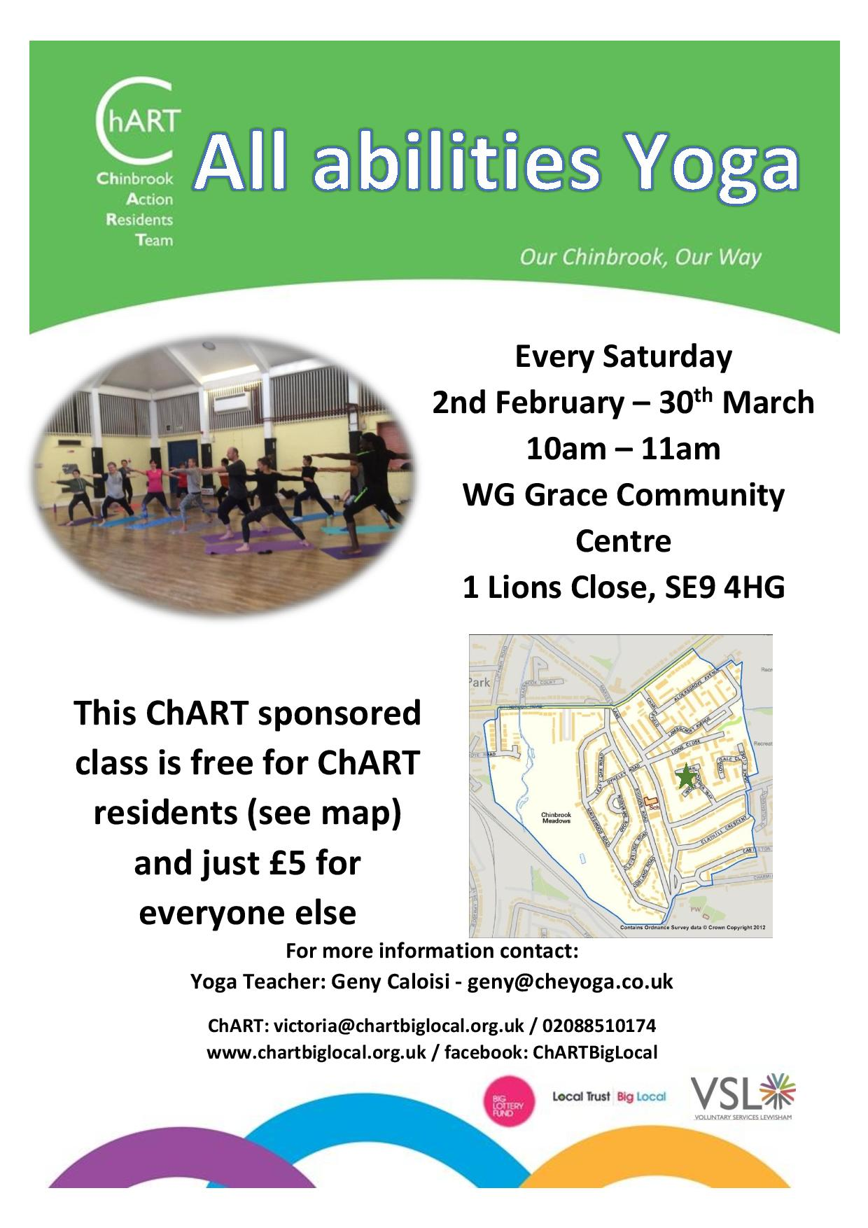 Yoga Spring 2019 . Class runs every Saturday from 2nd February until 30th March. 10am - 11am. WG Grace Community Centre, 1 Lions Close, SE9 4HG