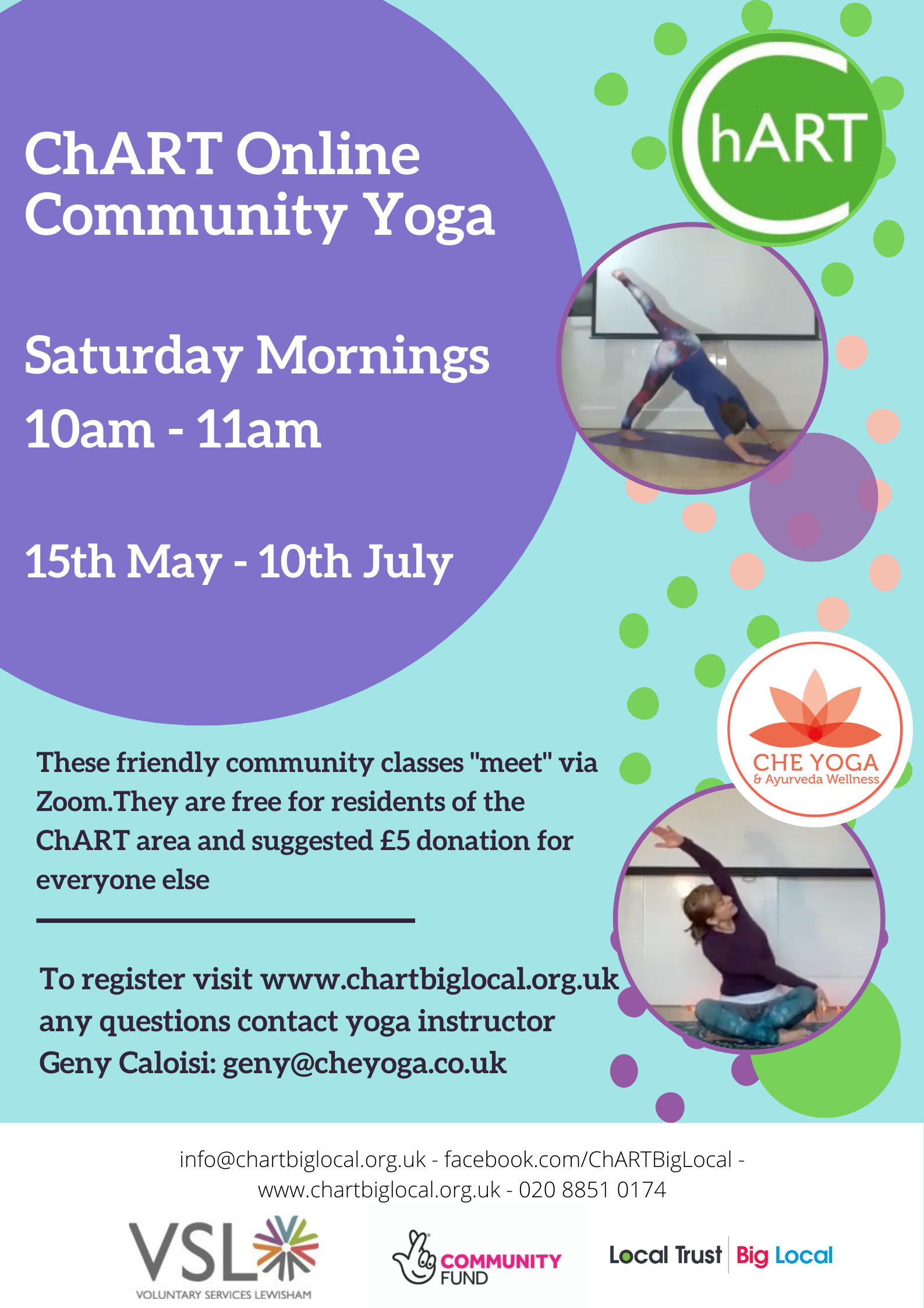 ChART Online Community Yoga, Saturday Mornings 10am - 11am, for 9 weeks 15th May - 10th July