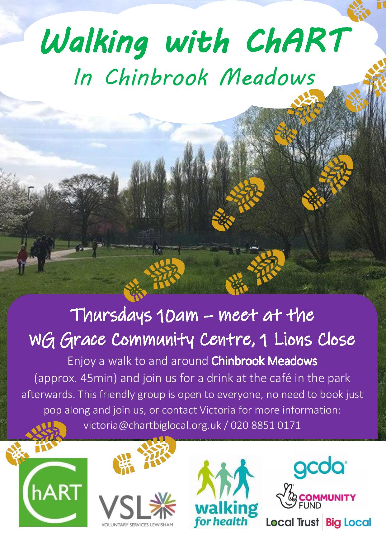 Flyer advertising ChART Walking Group background is a picture of Chinbrook Meadows, yellow boot prints appear to walk across the page, in a purple box at the base of the poster the details are give: friendly group is part of the GCDA Lewisham Healthy Walks scheme. Meets every Thursday at 10am at the WG Grace Community Centre to walk to and around Chinbrook Meadows for approx 45 min. Finishes at the cafe in the park where ChART will buy everyone drinks.